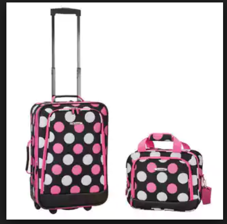 pink polka dotted suitcase